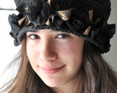 Heather Gray Crochet Cloche Hat with Black Satin Roses Grey Flapper Hat