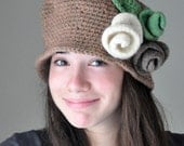 Crochet  Hat  with Felt Roses , Brown Desert Sand Cloche Hat , Crochet Cloche Hat with White Green and haki Felted  Roses