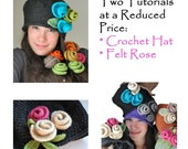 Hat Pattern, Crocher Hat Pattern - Knitting Patterns ,Crochet  Pattern, Felt Rose Pattern - 2 Pdf Tutorials at a reduced price