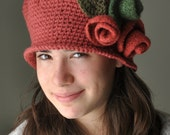 Ruby  Crochet Hat, Cloche Hat with Sienna Rose and Forest Green Felted  Roses, Flapper Crochet Hat