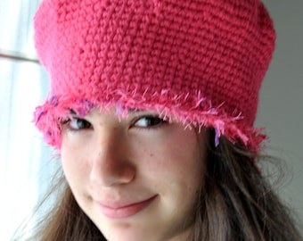 SALE - Crochet Hat - Pink Cloche Hat with Hairy Embellishment - Pink Crochet Hat - Plapper Hat Vintage style