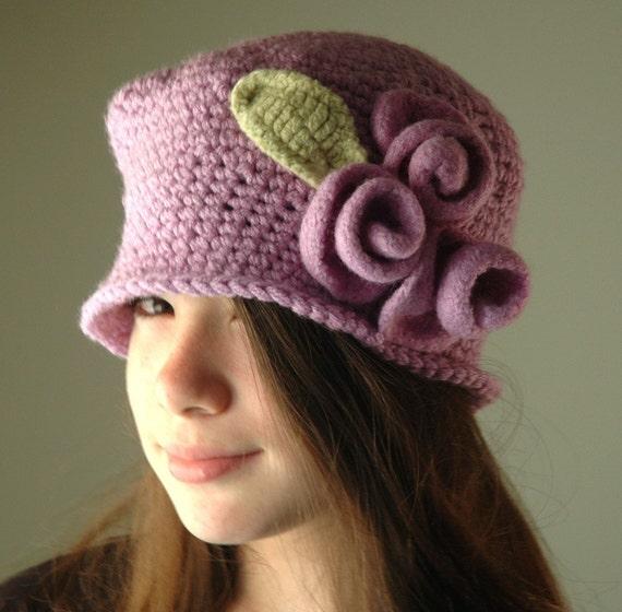 Lavender Crochet Hat, Lilac Cloche Hat with Lilac Wool Felt Roses, Flapper Hat, Vintage Hat
