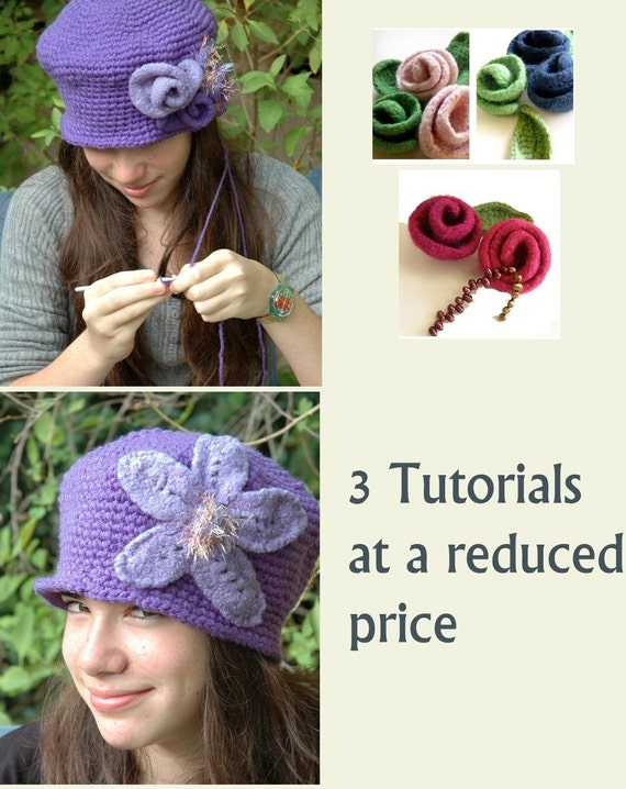 Crochet Pattern and Knitting Patterns , Pdf tutorials - 3 Pdf Tutorials at a reduced price