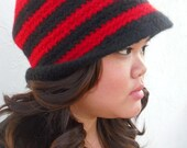 Red Black Striped and Felted Womens hat - Handmade Crochet Wool Toboggan - Felted Very Thick Warm and Cozy by Tejidos at Etsy