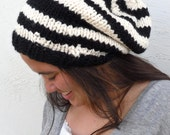 Oversized Womens Wool Striped Slouchy in Black and White- Made to Order - by Tejidos on Etsy