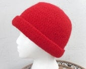 """Felted Wool Crochet Hat Tobaggan  - Super Thick Warm Winter Bucket Hat Women-  Bold Red fits 20"""" - 22 """" by Tejidos on Etsy"""