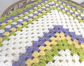 Granny Square Crochet Baby Blanket Afghan for Boy or Girl - In Green Purple Yellow - By Tejidos on Etsy