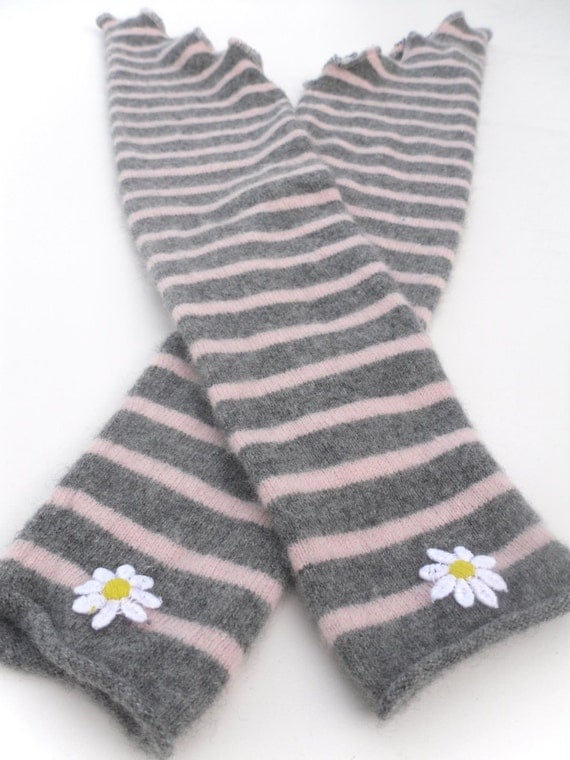 "Pure Cashmere Gauntlet Armwarmers - Striped Grey Pink - 24 1/2 "" Fits S - M arm"