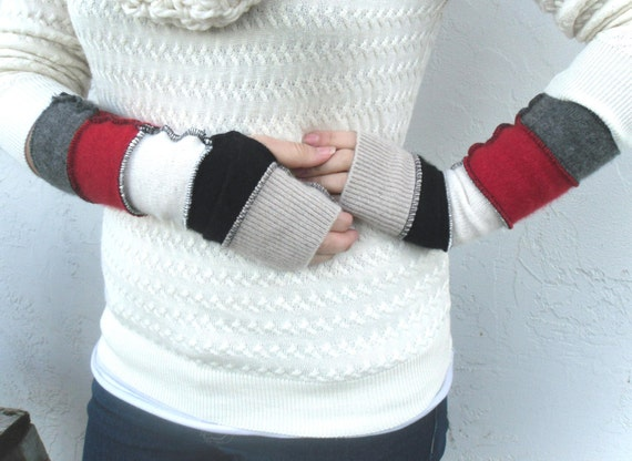 "Pure Cashmere Fingerless Gauntlet Armwarmers - Black Grey Red White Colorblock - 13 "" long Fits  Small hands/arm"