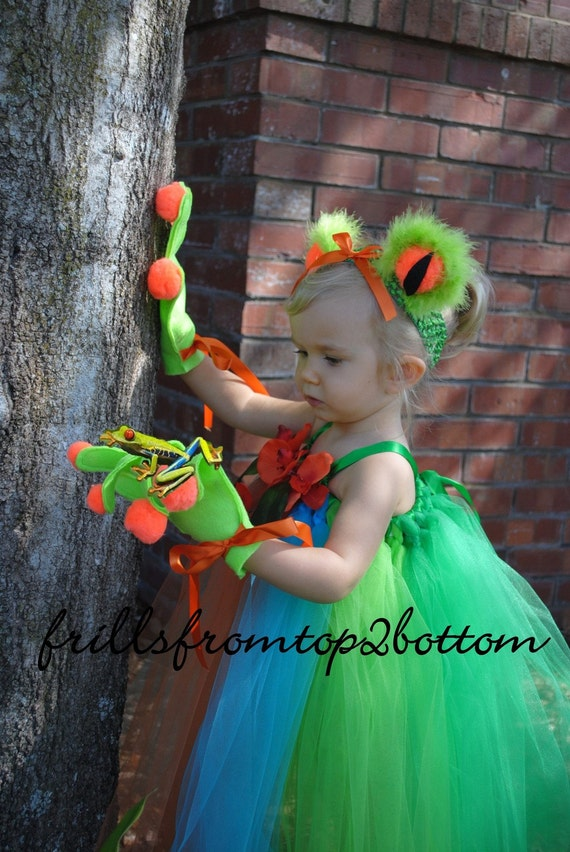 Infant/Toddler 3 pc Green Tree Frog Tutu Dress Sticky Hands Gloves and Frog Eye Headband ... Unique Costume or Party Attire