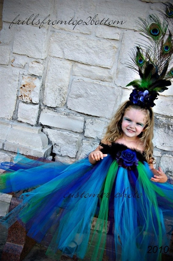 Infant/Toddler Peacock Tutu Dress and Feather Headband  PLUS WINGS... Unique Costume or Party Attire... SIZES up to 3T