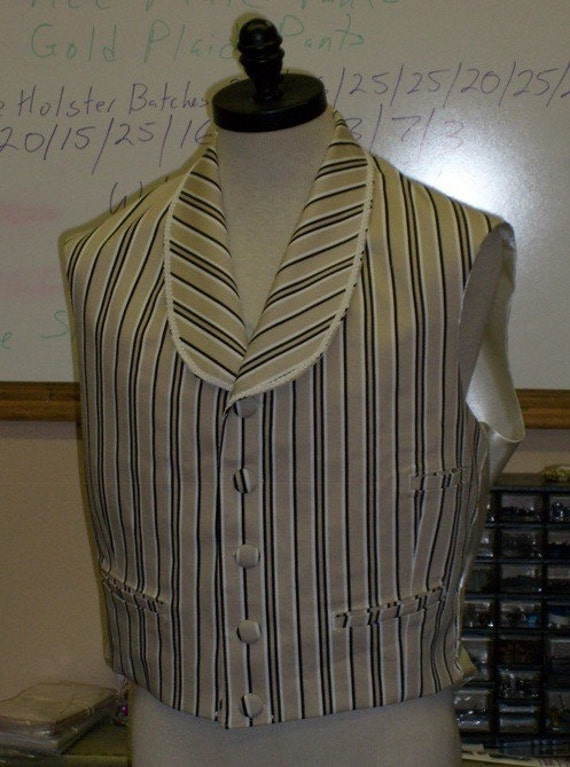 Striped Twill Shawl Collar Victorian Vest...READY TO SHIP!