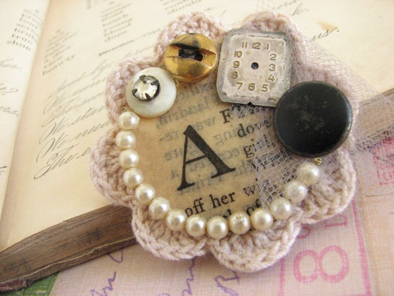 Vintage Monogram Collage Brooch  -repurposed vintage paper, watch face and buttons-