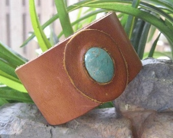 Leather Wrist Cuff With Genuine Turquoise Cabochon Size 8