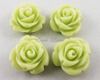 4 pcs- (5029-YG) Yellow Green 14mm rose resin cabochons