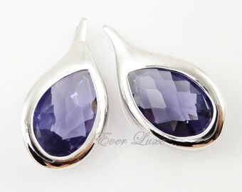 2 pcs- (5050R-AM) Amethyst faceted glass teardrop in bright rhodium plated rim setting pendants