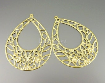 2 Large floral teardrop filigree pendants, matte gold metal jewelry findings / jewellery supplies 1490-MG (matte gold, 2 pieces)