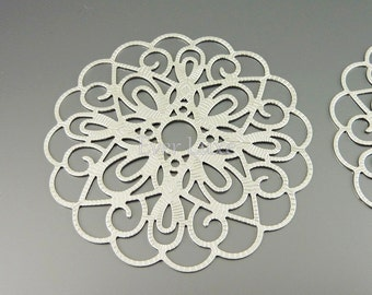 1538-MR (2 pcs) Matte rhodium plated iron stampings 62mm filigree pendants