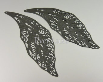 Jet black extra long willow leaf filigree pendants  74mm x 24mm 1403-JB (jet black, 2 pcs)