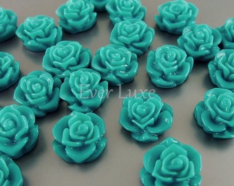 4 dark turquoise color flower blossom cabochons, floral cabs with flat backs for rings, earrings, jewelry 5082-DT (dark turquoise, 4 pieces)