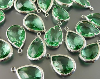 2 Unique green faceted glass pendants / large tear drop glass beads for jewelry making / supply 5060R-LG