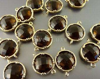 2 smoky quartz 12mm glass connectors, faceted round glass charms,  jewelry supplies 5014G-SQ-12 (bright gold, smoky quartz, 12mm, 2 pieces)