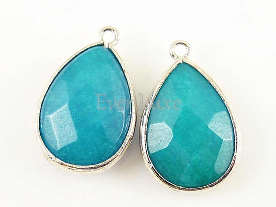 2 pcs- (5069R-SBJ) Sea Blue Jade/Rhodium Faceted large tear drop glass with simple frame pendants