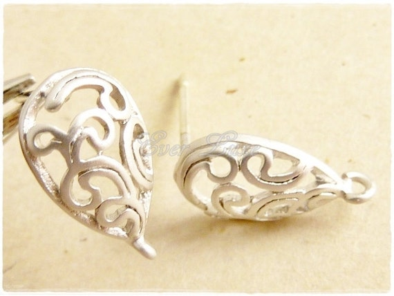 1039-MR (2 pairs) Matte rhodium plated paisley with sterling silver posts
