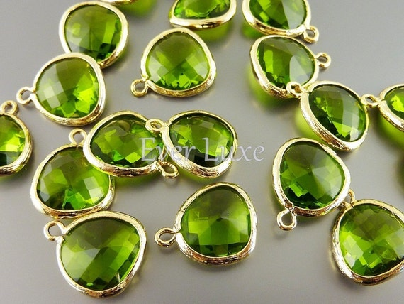 2 dark apple green unique glass charms for jewelry making / glass beads earrings necklaces anklets 5031G-DAG (gold, dark apple green, 2 pcs)