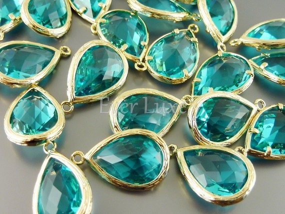 5060G-SG (2 pcs) Sea Green / Gold Faceted long teardrop glass pendants