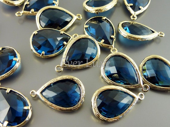 5060G-BS (2 pcs) Blue Sapphire / Gold Faceted long teardrop glass pendants
