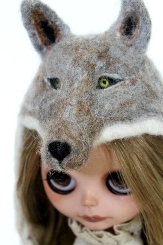 OOAK  Artisan Needle Felted Blythe Wolf Hat Sculpture