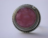 Vintage Czech glass pink button ring