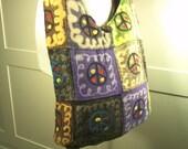 sale - PEACE out - Peace sign Yoga crossbody bag, tribal bag
