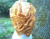 Mothers Day sale - Recycled silk sari scarf, yellow silk scarf, circle scarf