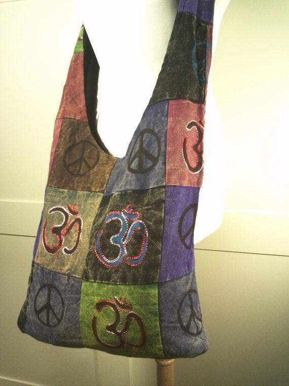 Peace and Love Om Yoga Cotton burlap blend crossbody messenger bag