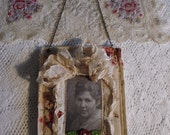 Decorative Fiber Art Hanging with Vintage Photo