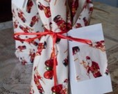 Christmas Bottle Bag Gift Wrap with Santa print Eco Friendly Reusable Fabric Tie Gift Bag with Gift Tag great for Wine Bottles