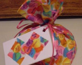Conversation Hearts Fabric Gift Bag and Tag - Small