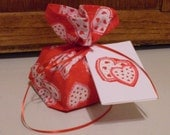 Red and White Valentine Hearts Fabric Gift Wrap Bag and Tag - Small