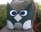 """Whimsical Owl Pillow Large 13"""" x  15"""" in shade of Green Handmade One of a Kind Ready to Ship"""