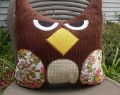 "Large  Decorative Owl Throw Pillow 13"" x  15"" in Brown and Gold Handmade One of a Kind Ready to Ship"