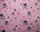 Pink and Black Skull Heart and Cross Bones Reversible Book Tote School Bag or Whatever Bag