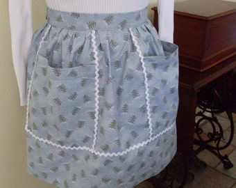 Blue Christmas Apron Vintage Inspired Hostess Apron
