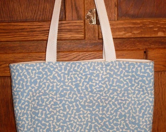 Dog Print Reversible Fabric Tote Bag Book Bag Gym Tote Market Bag