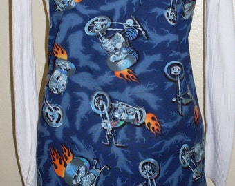 Blue Apron with Motorcycles Bar B Que Chef Apron Flamming Choppers Motorcycle  for Men and Women One of a Kind Ready to Ship