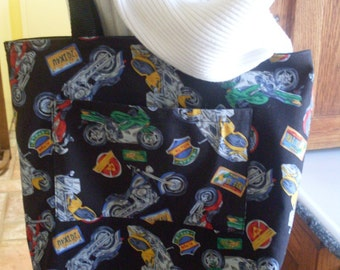 Tote Bag for Motorcycle Lovers Reversible Fabric Tote Market Book Bag
