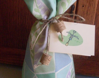 Sea Glass Blue Green and Purple Eco Friendly Fabric Wine and Booze Bottle Gift Bag with Tie and Gift Card