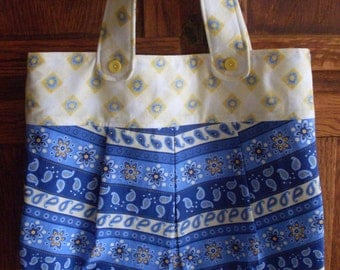 Blue and Yellow Purse Handbag with magnetic snap closure