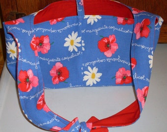 Red White and Blue Floral Hobo Bag Purse
